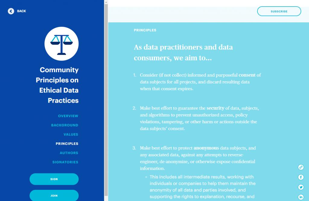 Code de conduite sur l'éthique des données